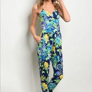 Pants - Navy Floral Jumpsuit